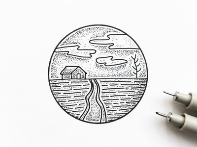 Little House landscape outdoors nature shading dots sky indianaart penandink doodle indianaartist illustration pen indiana sketch drawing stipple ink
