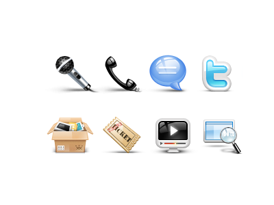 Icons for Website-Take 2 icon icons website twitter demo resource chat phone microphone ticket