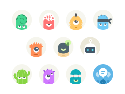 Avatars for messaging app avatar profile chat messaging characters avatars icon icons ui