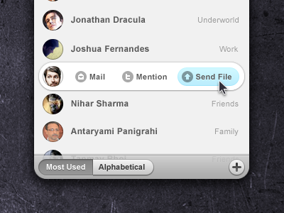 Rollover ui interface list app contacts rollover
