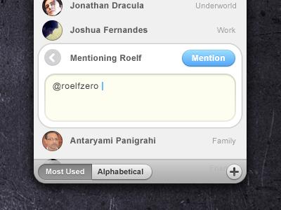 Tweet ui interface list app contacts slide