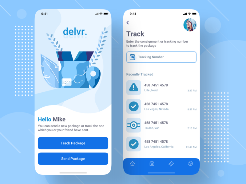 Delivery Mobile App Design consignment parcel package tracking track shipment send product logistic logistics ios interface illustration freight design delivery status delivery box app design app