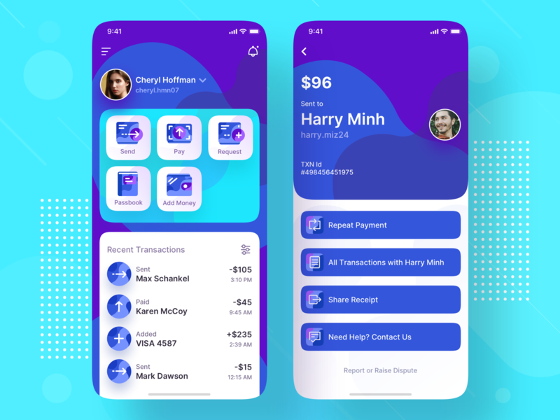 Payment Wallet Mobile App UI Design mobile ui mobile ui design mobile app design welcome screen welcome page homepage wallet success send payment pay order list ios fintech finance confirmation banking bank