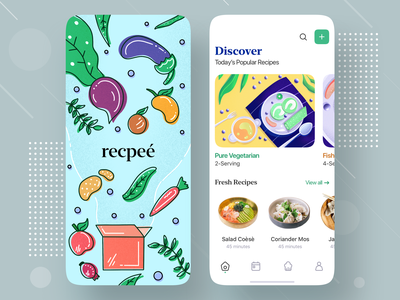 Recipe Mobile App Exploration recipes minimal app clean app trending design mobile design android app clean app design ios app 2020 trends minimal page welcome dashboard splash ios illustraion mobile app design recipe app recipe app