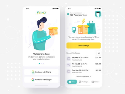 On-demand Package Delivery - iOS Mobile App • Senz send track shipment parcel onboarding on-demand mobile design hyperlocal courier package delivery illustration design illustrations mobile app design app design mobile interface app illustration ui
