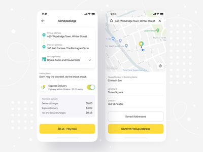 Hyperlocal Send Package - iOS Mobile App • Senz checkout shipping order map booking on-demand lyft send parcel interface ios mobile design mobile app design mobile uber delivery service delivery app delivery package app design