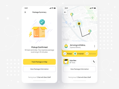 Package Delivery Summary & Live Tracking - iOS Mobile App • Senz product design ios app design shipping success confirmation order summary delivery mobile ui track package on demand hyperlocal order summary mobile design mobile app design mobile interface app ui