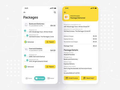 Package Order List and Order Summary - iOS Mobile App • Senz card ui delivery status delivery service payment checkout summary list view app design ios app design tabbar order details order summary order invoice mobile ui design delivery app delivery mobile app design mobile ui mobile
