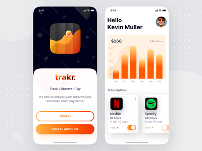 Subscription Tracking Mobile App Design - trakr welcome page sign up signup spotify netflix chart analytics trendy trend minimalist mobile app design mobile app subscription tracking user inteface ui ios modern app design app