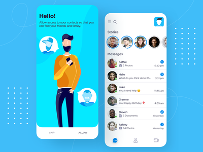 Chat / Messaging - iOS Mobile App Design welcome page onboarding ui iphone ui interface app ui welcome screen character design illustration ios app design app design mobile app design mobile ui mobile chat app messaging app ios message chat app