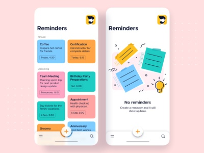 Reminders - iOS App Design best ui design mobile ui minimal ui minimal clean ios14 empty state todo reminders reminder ux mobile mobile app ios design illustration mobile app design app interface ui