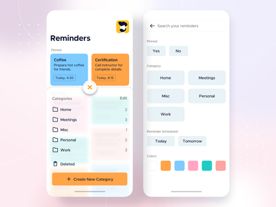 Category Sheet and Search State • Reminders - iOS App Design glassmorphism bottom sheet search reminder app reminder todo app todo mobile ios14 big sur android app design ios app design mobile app ios design illustration app mobile app design interface ui