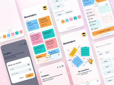 Overview • Reminders - iOS App Design reminder app reminders mobile ui big sur glassmorphism notes app notes todo list todo app todolist todo app ui mobile app ios design illustration mobile app design app interface ui