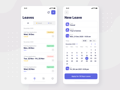 Leave Request - Attendance Management • iOS App Design uiuxdesign ios app design cards ui form fields list view form design form attendance calendar ui mobile app management system management app management calendar ios14 ios mobile app design app interface ui