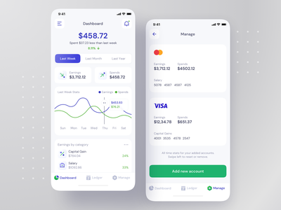 Finance Manager - iOS App Design fintech app finance app fintech finance analytics dashboard ui dashboard chart payment cards clean ui design clean ui ux clean ui clean mobile app ios design mobile app design app interface