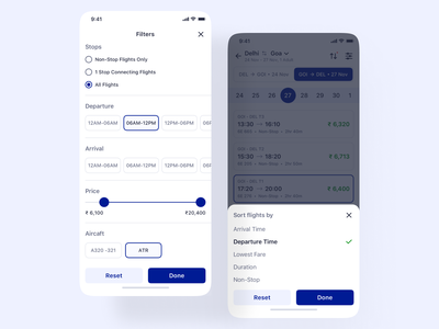 Filters and Sorting - Flight Booking - iOS App Design datepicker flight booking flight search ios14 ios sort by sorting range slider slider filter ui booking flight booking app flight app mobile app design mobile ui bottom drawer navigation drawer navigation filtering filters