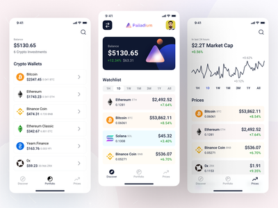 Tab Bars Sections - iOS App Design • Palladium wallet dashboard chart fintech finance app screen app design portfolio ios ios14 crypto exchange cryptocurrency crypto wallet crypto mobile app ui mobile app design