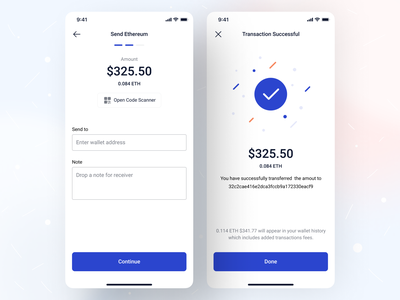 Send and Receive Crypto - iOS App Design • Palladium ethereum successful success message success share wallet list view scanner qrcode receive send money ux ui app flow ios app design crypto exchange crypto wallet crypto mobile app mobile app design