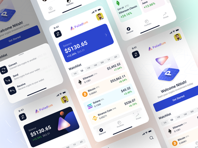Homepage States Exploration - iOS App Design • Palladium portfolio trading fintech crypto empty state bottom nav bottom sheet tab bar homepage welcome page bottom navigation ux app ui ios app mobile app ios app interface ui mobile app design