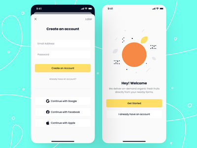 Create an account - iOS App Design social login minimalistic welcome screen welcome page sign up signup dialog modal box phone login page login sign in onboarding register signin mobile app mobile app design app design ios create account