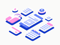 Isometric Webkul Illustration in 3D Space