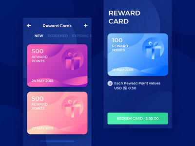 Reward Cards App UI rewards gift interface user design mobile reward card ux ui ios app