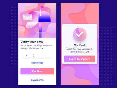 Email Verification - App UI Design card illustration gradient confirmation material design ios interface user ui app verification email