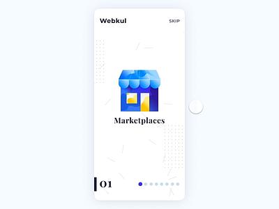 Onboarding UI - Prototype Interaction Design intro store ecommerce studio invision blob illustration ux app interaction ui onboarding