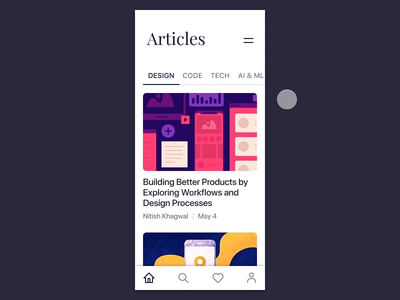 Blog App Design - Tab Bar and Toolbar in Action - Interaction product design mobile app design mobile app blog app design ui ux ui animation animation interaction design uikit ios bottom navigation toolbar tabbar blog article app ui cards ui blog app blog invision studio invision