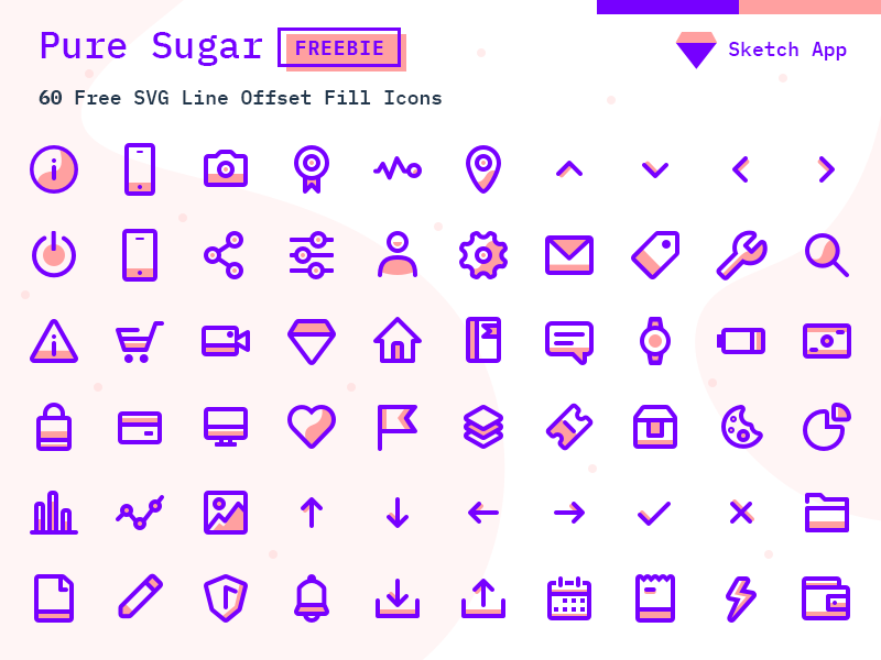 Pure Sugar - 60 Free SVG Icons Pack - Sketch Vector Icon Freebie iconpack vector svg sketch sketchapp icons free freebie ui icons outline icons minimalistic icons website vibrant icons colorful icons modern line icons lineart icon set branding brand