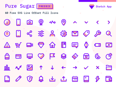 Pure Sugar - 60 Free SVG Icons Pack - Sketch Vector Icon Freebie