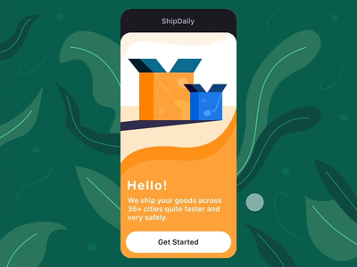 Shipping App Onboarding UI - Interaction Design mobile ui mobile app app design onboarding illustration onboarding ui onboarding app illustration mobile app design mobile shipping invision studio animated animation design interaction invision ux interface illustration ui