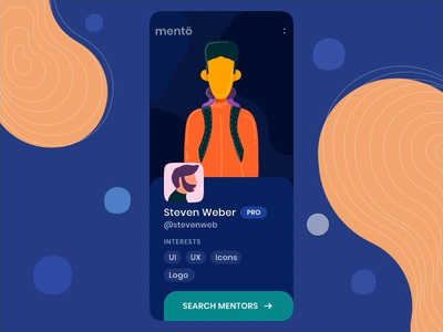 Find a Mentor Mobile App Interaction Design success message uidesign ui  ux mobile ui interaction animation app flow interface invision studio invision animated app ui illustration design illustration mobile app design mentors mentee mentoring mentorship mentor ui