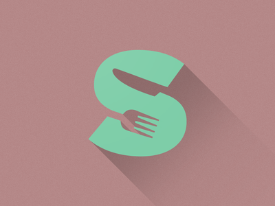 Scorch Logo restaurant logo knife fork negative space long flat design icon shadow food