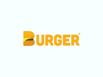 Burger Logo food burger logo icon design typography flat space branding mark sign symbol