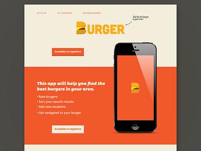 Burger App landing page typography food iphone design website page landing landing page app burger flat webdesign
