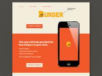 Burger App landing page