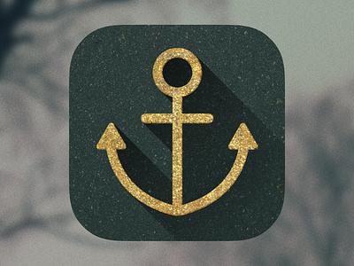 Anchor Icon anchor icon ios app long shadow gold sea nautical logo