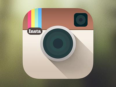 Instagram Icon iOS 7  instagram ios7 icon app iphone redesign long shadow