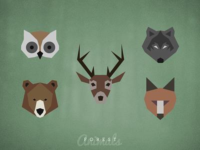 Forest Animals animal forest wolf fox bear owl deer badges flat illustration