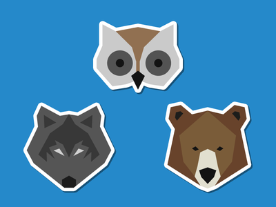 Forest Animals Version 2 animal forest wolf fox bear owl deer badges flat illustration