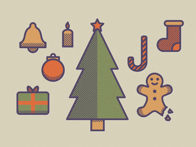 Christmas Is Coming christmas icons halftone pattern tree gift bell sock flat gingerbread holidays candle