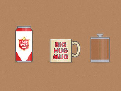 True Detective – Big Hug Mug true detective big hug mug flat illustration hbo lone star flusk texas