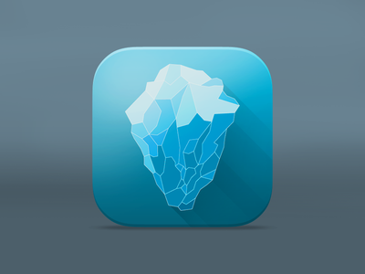 Iceberg App Icon icon app ios7 design flat shadows long iceberg underwater