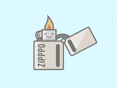 Lighter lighter matchbox zippo illustration flat smiley
