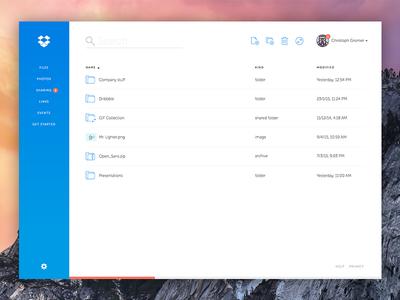 Dropbox Web App Redesign