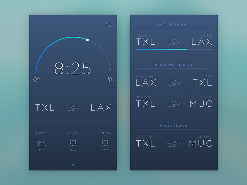Flight Tracker sketch ios app typography ux ui gradient flat design