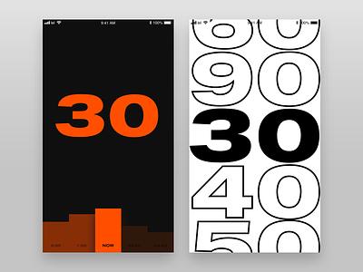 Timing sketch minimal brutalism font typography ux ui design app ios