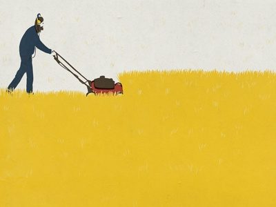 Next installment of the Diary series lawn mowing man lawnmower yellow