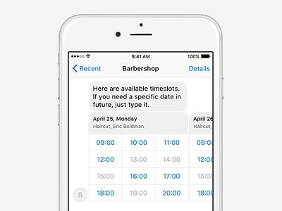 Barbershop chatbot ux conversational barbershop booking reservation appointment messenger facebook bot chat